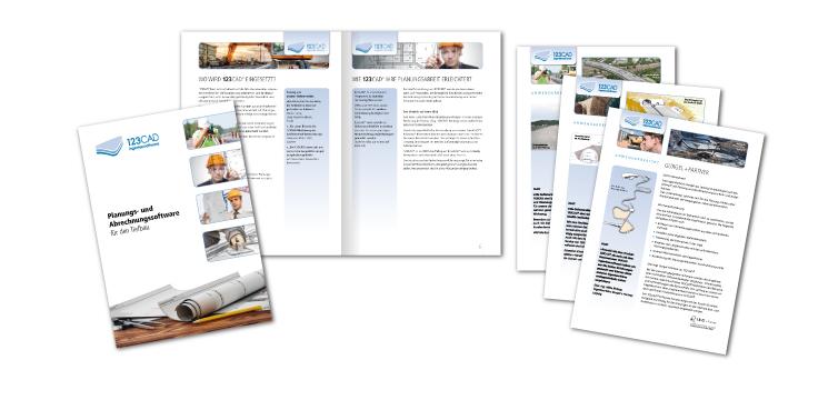 <b>Auftraggeber:</b> 123CAD Ingenieursoftware, Wiesbaden, Firmenbroschüre und Produktanwendungs-Informationsblätter