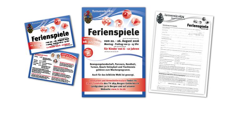 <b>Auftraggeber:</b> Turnverein 1874 Bergen-Enkheim e. V., Frankfurt, Ferienbetreuung: Postkarte, Poster und Anmeldeformular