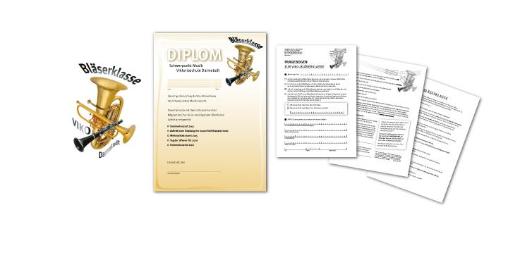 <b>Auftraggeber:</b> Viktoriaschule Darmstadt, Schwerpunkt Musik, Emblem, Urkunde und Informationsmaterialien