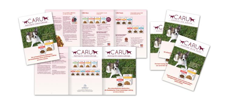 <b>Auftraggeber:</b> MyLadybird GmbH, Schweiz, CARU Hundenahrung, Neueinführung, Produktflyer in verschiedenen Sprachen
