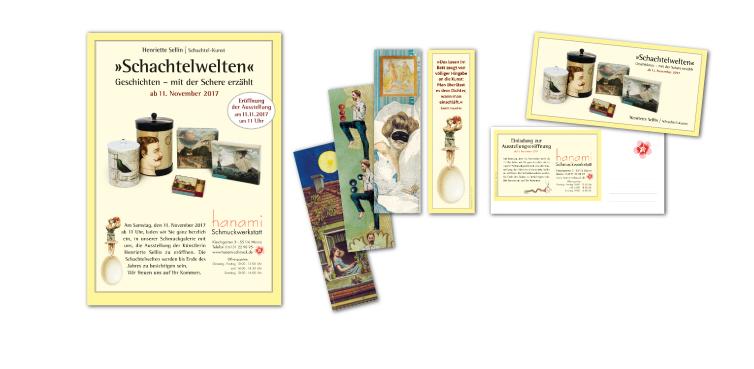 <b>Auftraggeber:</b> Schachtelkunst, Henriette Sellin, Mainz, Drucksachen für die Ausstellung