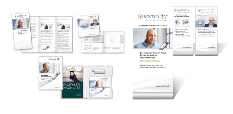 <b>Auftraggeber:</b> netzbetreiber GmbH, Rödermark, Produkt: Somnity, Digitale Vorsorge, Flyer, Anwenderbooklet, DVD-Hülle, Rollups.