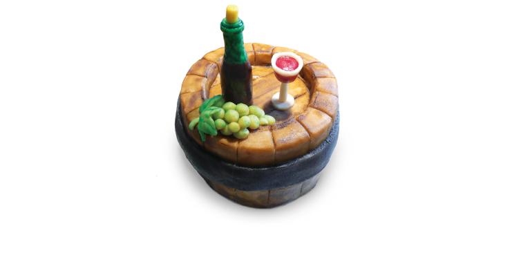 <b>Anlass:</b> 51. Geburtstag meines Freundes, der Winzer, 2012. Marzipan auf Berner Schokoladentorte.
