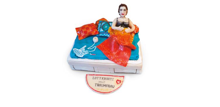 <b>Anlass:</b> Geburtstagstorte, 2015. Die Traumfrau. Marzipan auf Berner Schokoladentorte.