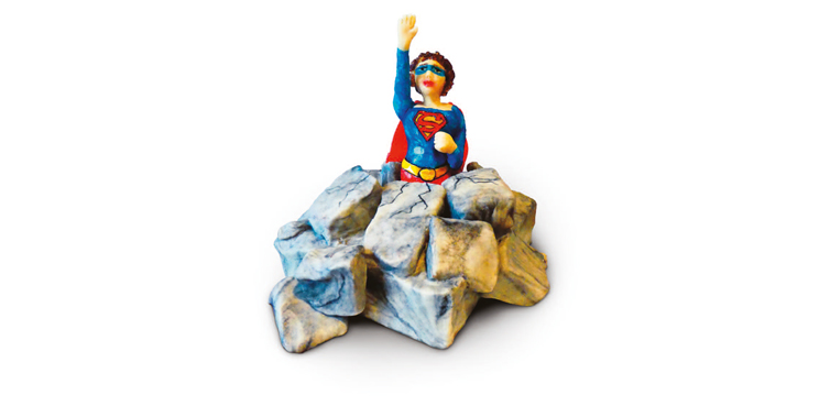<b>Anlass:</b> Geburtstag einer Superwoman, 2018. Marzipan auf Berner Schokoladentorte.